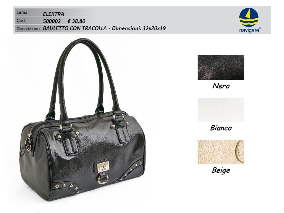 ELEKTRA 500002 38,80 BAULETTO CON TRACOLLA - Dimensioni: 32x20x19 Nero Bianco Beige
