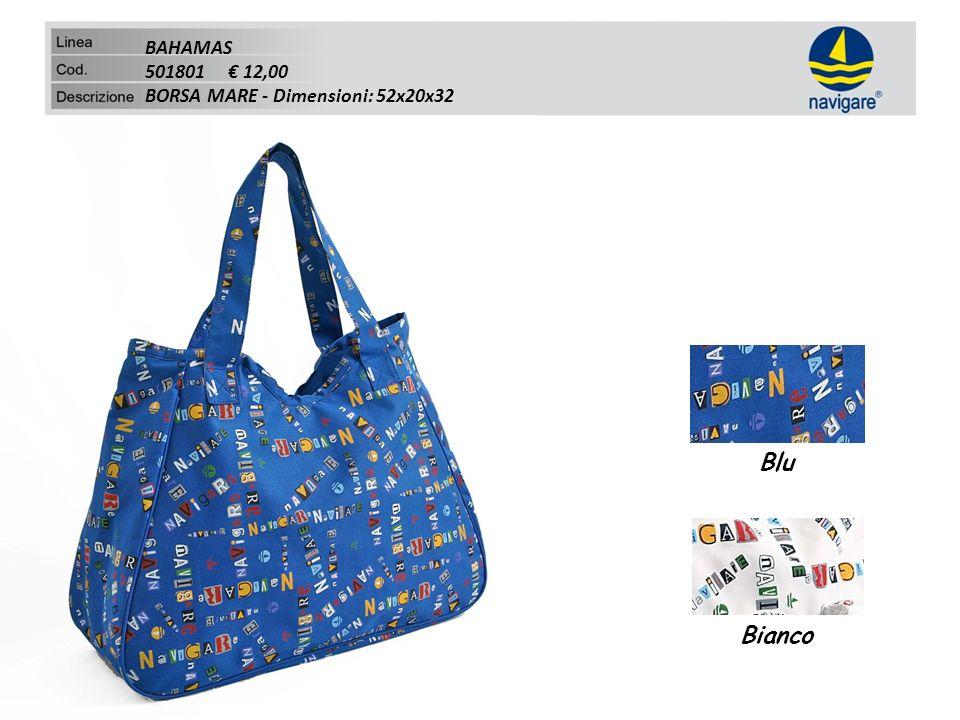 BAHAMAS 501801 12,00 BORSA MARE - Dimensioni: 52x20x32 Blu Bianco