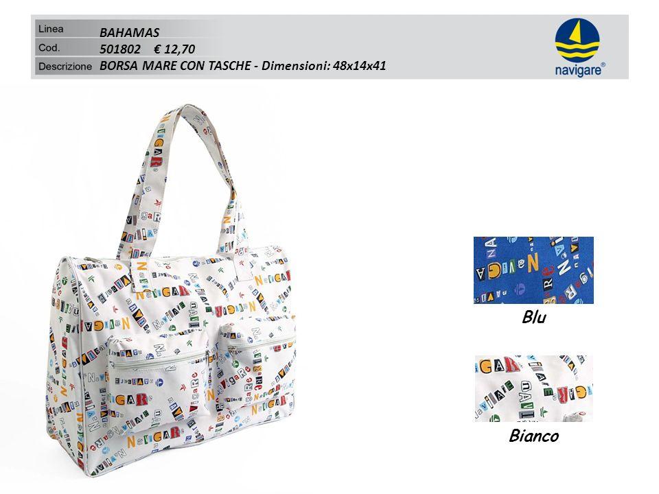 BAHAMAS 501802 12,70 BORSA MARE CON TASCHE - Dimensioni: 48x14x41 Blu Bianco