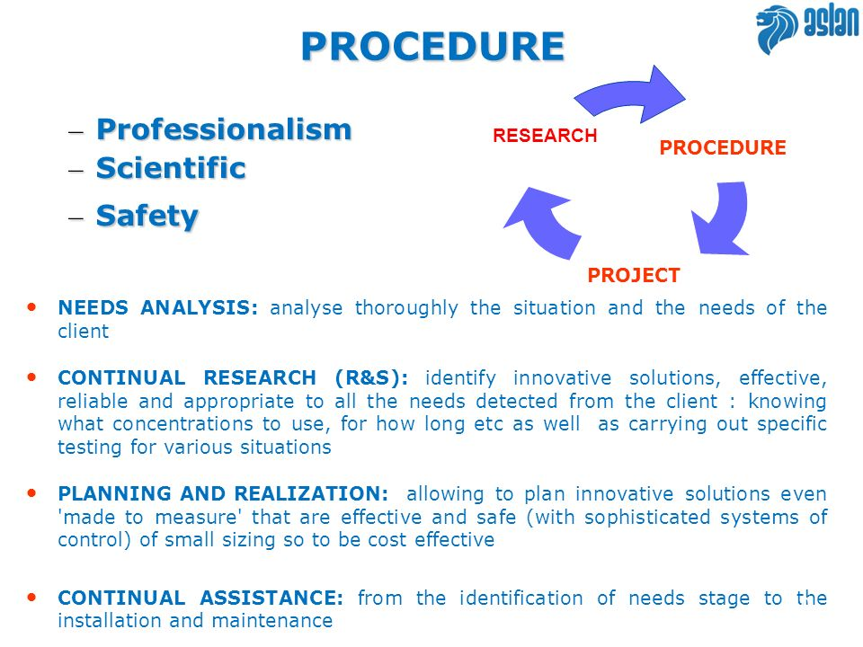 – Professionalism – Scientific – Safety NEEDS ANALYSIS: analyse thoroughly the situation and the needs of the client CONTINUAL RESEARCH (R&S): identif