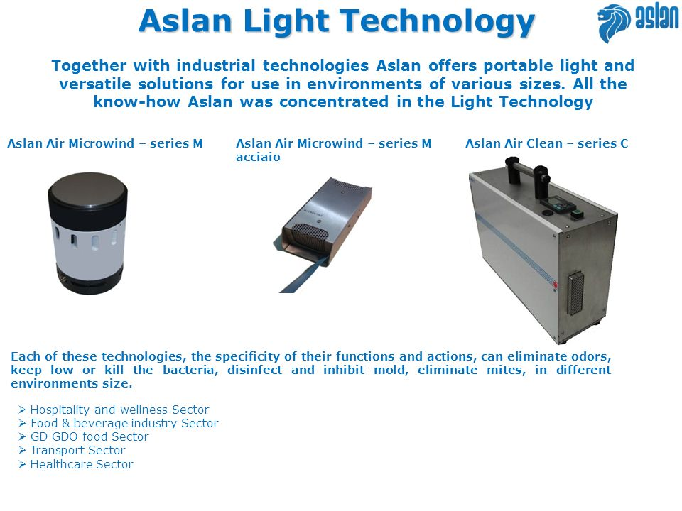 Aslan Light Technology Together with industrial technologies Aslan offers portable light and versatile solutions for use in environments of various si