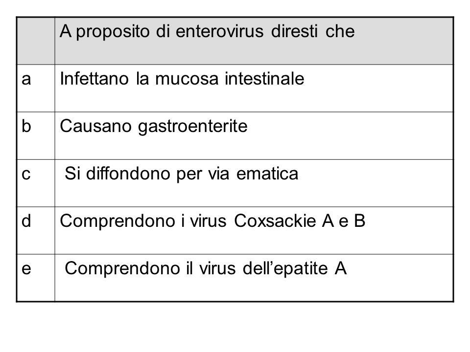 A proposito di enterovirus diresti che aInfettano la mucosa intestinale bCausano gastroenterite c Si diffondono per via ematica dComprendono i virus C
