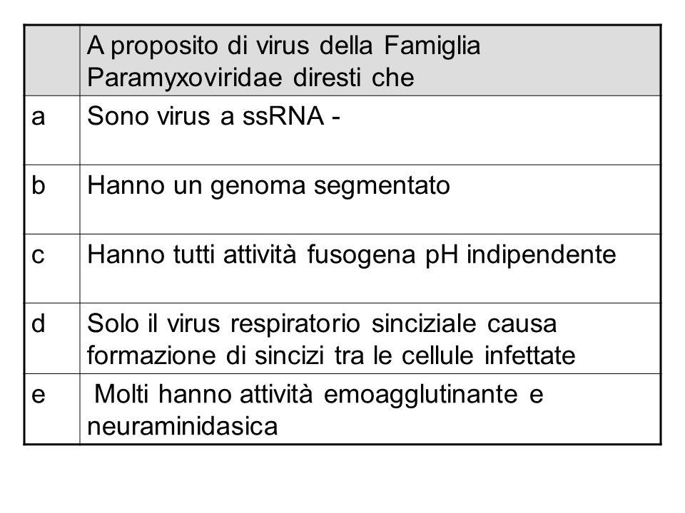 A proposito di virus della Famiglia Paramyxoviridae diresti che aSono virus a ssRNA - bHanno un genoma segmentato cHanno tutti attività fusogena pH in