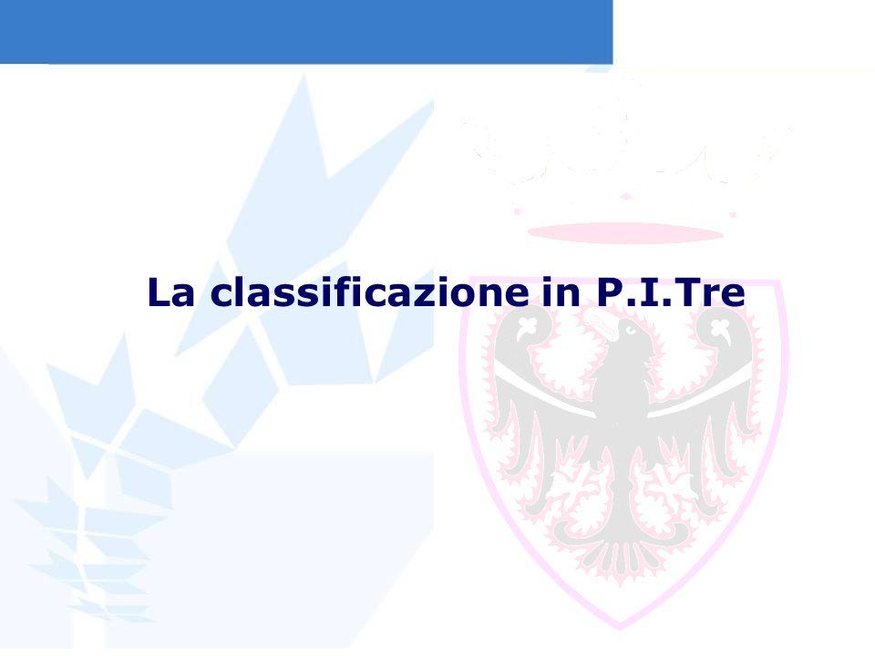 La classificazione in P.I.Tre