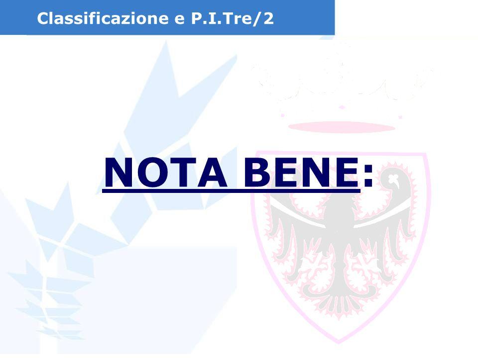 Classificazione e P.I.Tre/2 NOTA BENE: