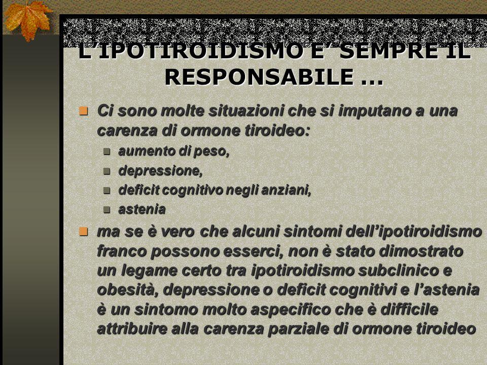 LIPOTIROIDISMO E SEMPRE IL RESPONSABILE...