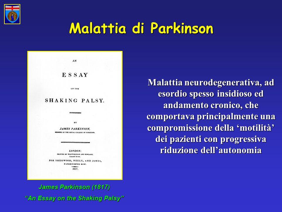 Malattia di Parkinson Malattia neurodegenerativa, ad esordio spesso insidioso ed andamento cronico, che comportava principalmente una compromissione della motilità dei pazienti con progressiva riduzione dellautonomia James Parkinson (1817) An Essay on the Shaking Palsy