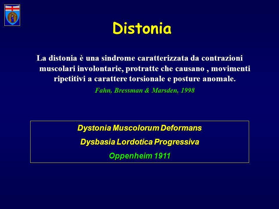 Distonia La distonia è una sindrome caratterizzata da contrazioni muscolari involontarie, protratte che causano, movimenti ripetitivi a carattere tors