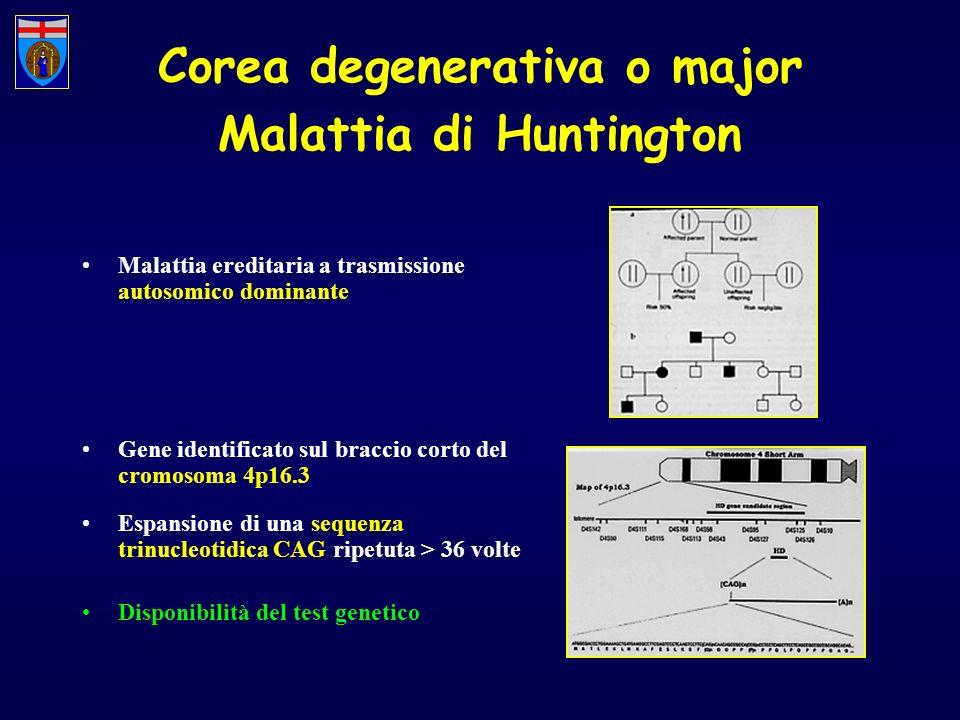 Corea degenerativa o major Malattia di Huntington Malattia ereditaria a trasmissione autosomico dominante Gene identificato sul braccio corto del crom