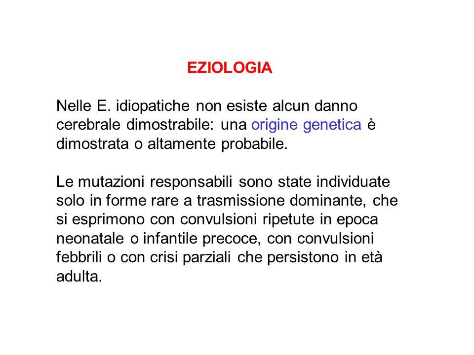 EZIOLOGIA Nelle E. idiopatiche non esiste alcun danno cerebrale dimostrabile: una origine genetica è dimostrata o altamente probabile. Le mutazioni re