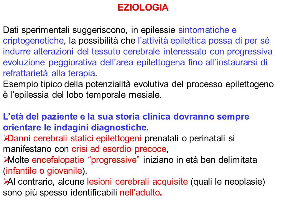 EZIOLOGIA Dati sperimentali suggeriscono, in epilessie sintomatiche e criptogenetiche, la possibilità che lattività epilettica possa di per sé indurre