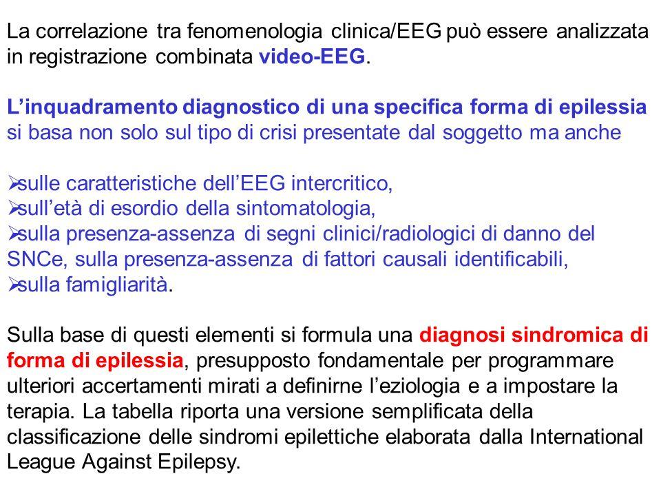 La correlazione tra fenomenologia clinica/EEG può essere analizzata in registrazione combinata video-EEG. Linquadramento diagnostico di una specifica