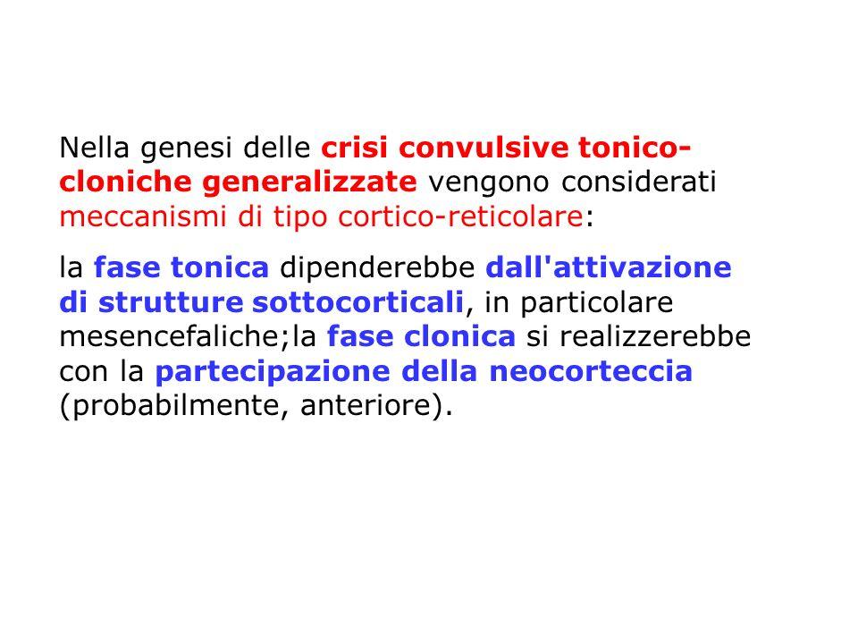 Nella genesi delle crisi convulsive tonico- cloniche generalizzate vengono considerati meccanismi di tipo cortico-reticolare: la fase tonica dipendere
