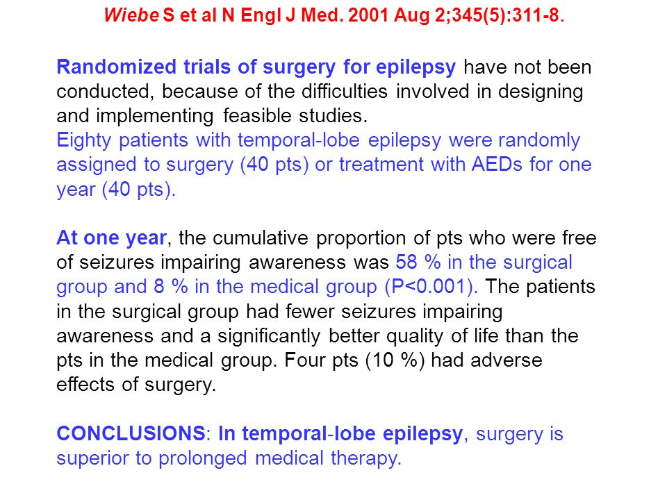 Wiebe S et al N Engl J Med. 2001 Aug 2;345(5):311-8. Randomized trials of surgery for epilepsy have not been conducted, because of the difficulties in