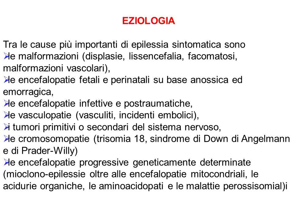 EZIOLOGIA Tra le cause più importanti di epilessia sintomatica sono le malformazioni (displasie, lissencefalia, facomatosi, malformazioni vascolari),