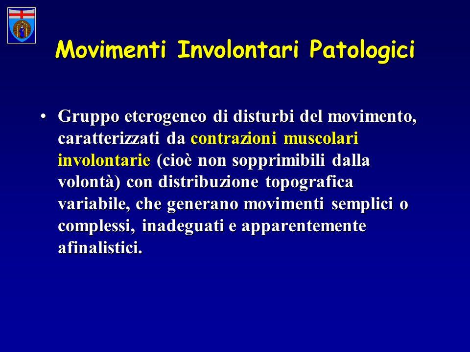 Movimenti Involontari Patologici Gruppo eterogeneo di disturbi del movimento, caratterizzati da contrazioni muscolari involontarie (cioè non sopprimibili dalla volontà) con distribuzione topografica variabile, che generano movimenti semplici o complessi, inadeguati e apparentemente afinalistici.Gruppo eterogeneo di disturbi del movimento, caratterizzati da contrazioni muscolari involontarie (cioè non sopprimibili dalla volontà) con distribuzione topografica variabile, che generano movimenti semplici o complessi, inadeguati e apparentemente afinalistici.