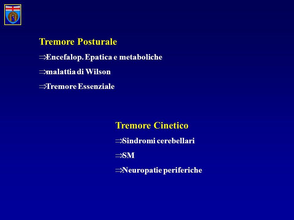 Tremore Posturale Encefalop. Epatica e metaboliche malattia di Wilson Tremore Essenziale Tremore Cinetico Sindromi cerebellari SM Neuropatie periferic