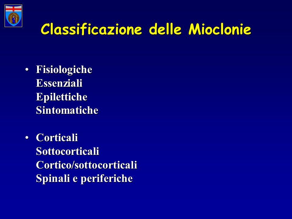 Classificazione delle Mioclonie FisiologicheFisiologicheEssenzialiEpiletticheSintomatiche CorticaliCorticaliSottocorticaliCortico/sottocorticali Spinali e periferiche