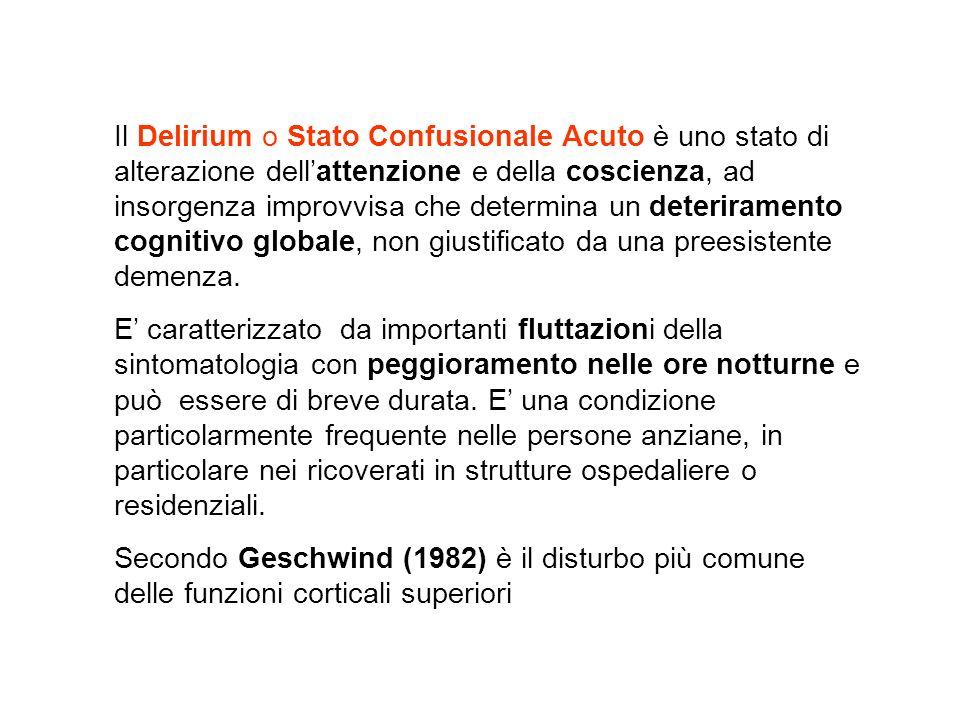 Il Delirium o Stato Confusionale Acuto è uno stato di alterazione dellattenzione e della coscienza, ad insorgenza improvvisa che determina un deterira