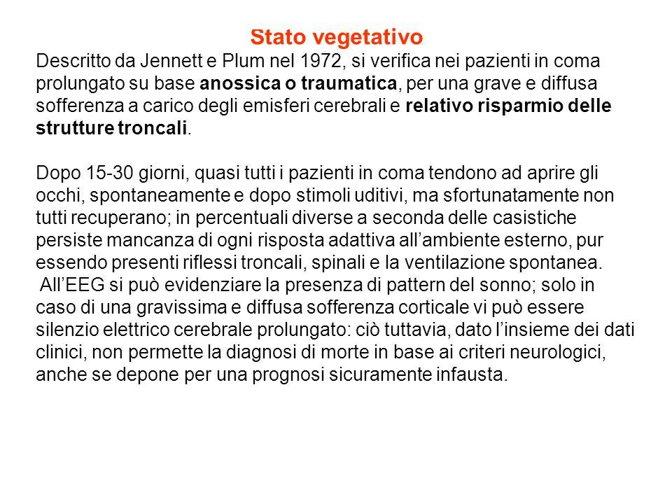 Stato vegetativo Descritto da Jennett e Plum nel 1972, si verifica nei pazienti in coma prolungato su base anossica o traumatica, per una grave e diff