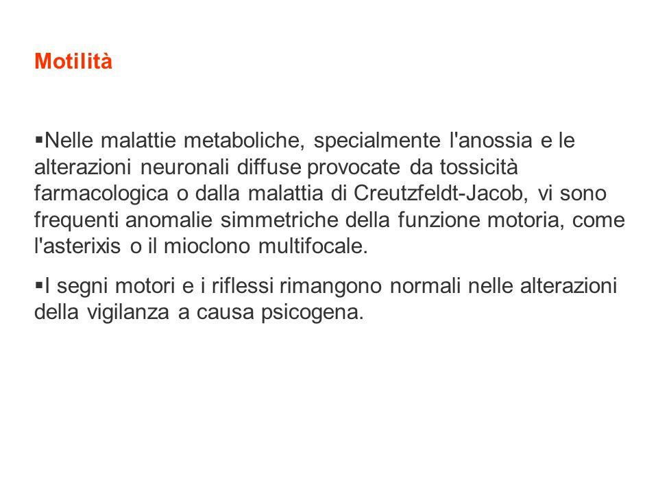 Motilità Nelle malattie metaboliche, specialmente l'anossia e le alterazioni neuronali diffuse provocate da tossicità farmacologica o dalla malattia d