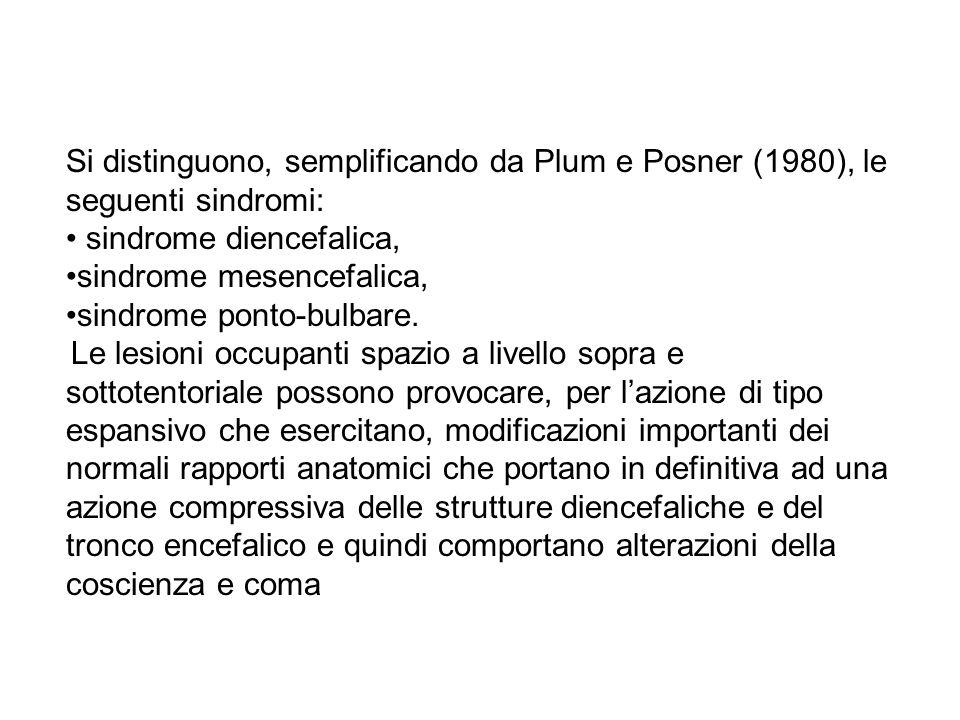 Si distinguono, semplificando da Plum e Posner (1980), le seguenti sindromi: sindrome diencefalica, sindrome mesencefalica, sindrome ponto-bulbare. Le