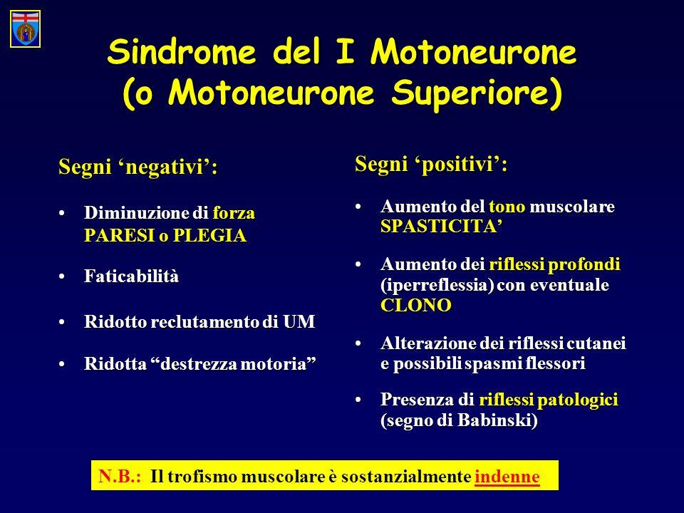 Sindrome del I Motoneurone (o Motoneurone Superiore) Segni negativi: Diminuzione di forza PARESI o PLEGIADiminuzione di forza PARESI o PLEGIA Faticabi