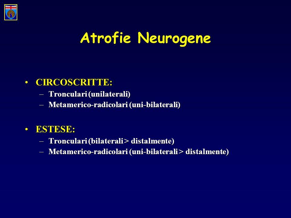 Atrofie Neurogene CIRCOSCRITTE:CIRCOSCRITTE: –Tronculari (unilaterali) –Metamerico-radicolari (uni-bilaterali) ESTESE:ESTESE: –Tronculari (bilaterali