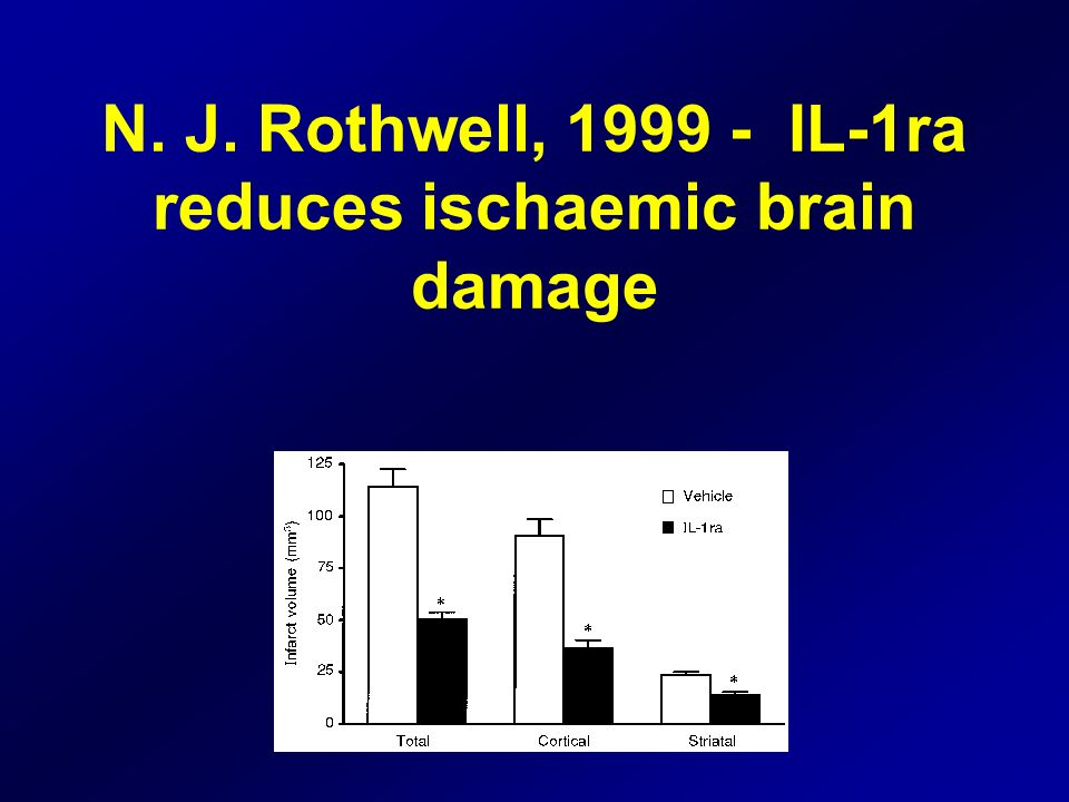 N. J. Rothwell, 1999 - IL-1ra reduces ischaemic brain damage