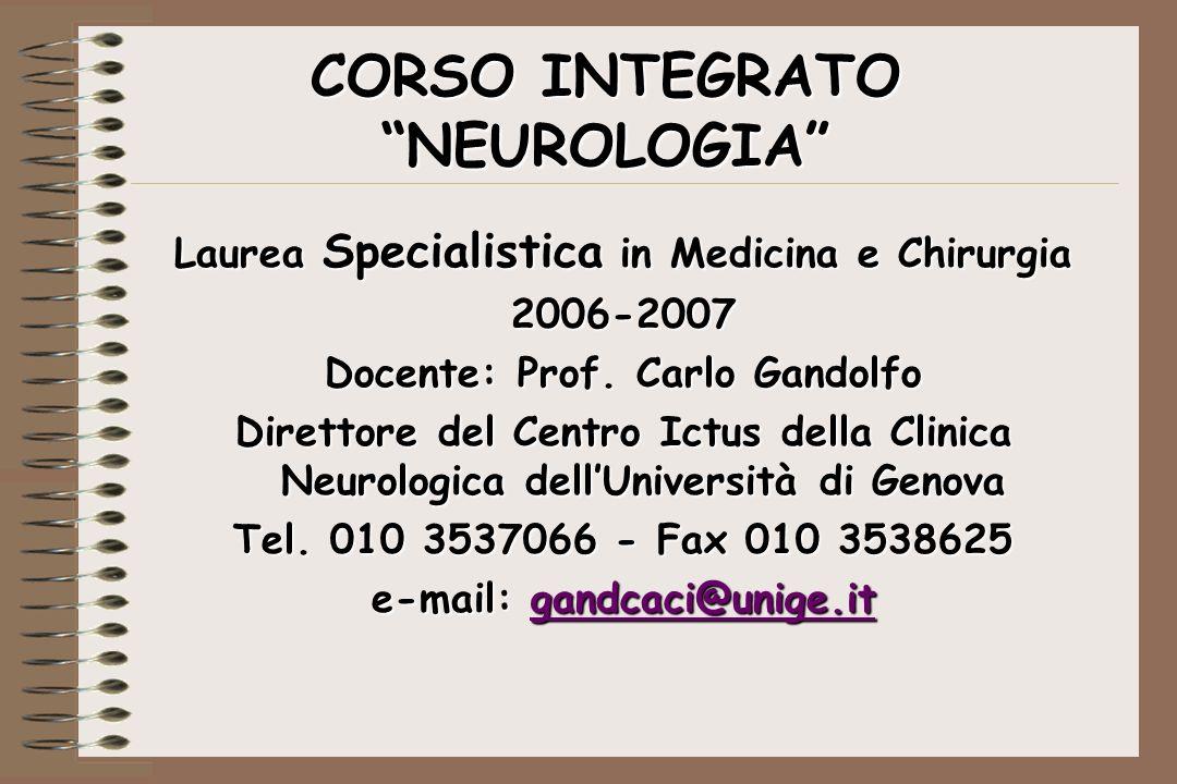 CORSO INTEGRATO NEUROLOGIA Laurea Specialistica in Medicina e Chirurgia 2006-2007 Docente: Prof. Carlo Gandolfo Direttore del Centro Ictus della Clini
