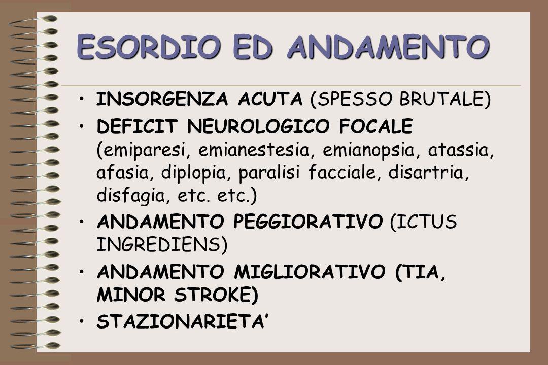 ESORDIO ED ANDAMENTO INSORGENZA ACUTA (SPESSO BRUTALE) DEFICIT NEUROLOGICO FOCALE (emiparesi, emianestesia, emianopsia, atassia, afasia, diplopia, par