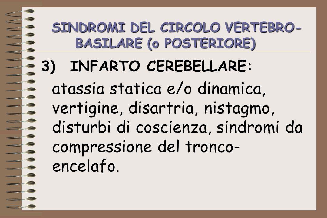 SINDROMI DEL CIRCOLO VERTEBRO- BASILARE (o POSTERIORE) 3)INFARTO CEREBELLARE: atassia statica e/o dinamica, vertigine, disartria, nistagmo, disturbi d
