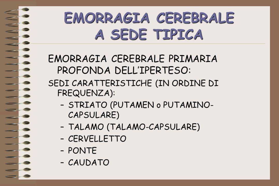 EMORRAGIA CEREBRALE A SEDE TIPICA EMORRAGIA CEREBRALE PRIMARIA PROFONDA DELLIPERTESO: SEDI CARATTERISTICHE (IN ORDINE DI FREQUENZA): –STRIATO (PUTAMEN