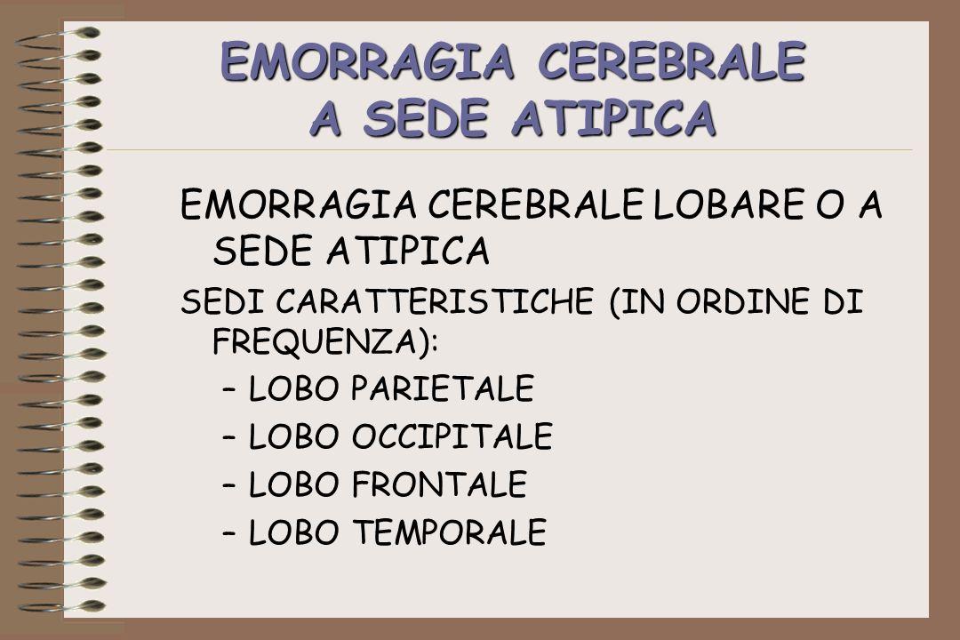 EMORRAGIA CEREBRALE A SEDE ATIPICA EMORRAGIA CEREBRALE LOBARE O A SEDE ATIPICA SEDI CARATTERISTICHE (IN ORDINE DI FREQUENZA): –LOBO PARIETALE –LOBO OC