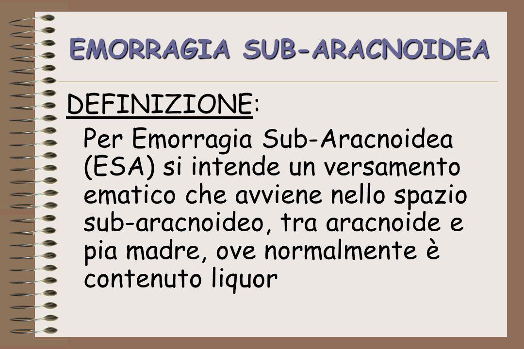 EMORRAGIA SUB-ARACNOIDEA DEFINIZIONE: Per Emorragia Sub-Aracnoidea (ESA) si intende un versamento ematico che avviene nello spazio sub-aracnoideo, tra