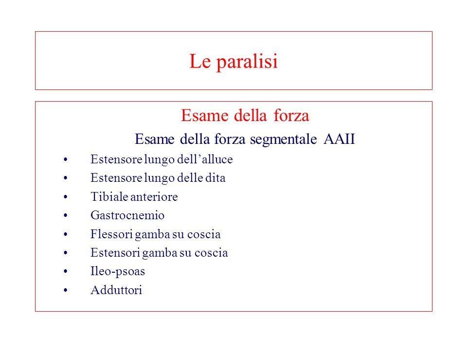 Le paralisi Esame della forza Esame della forza segmentale AAII Estensore lungo dellalluce Estensore lungo delle dita Tibiale anteriore Gastrocnemio Flessori gamba su coscia Estensori gamba su coscia Ileo-psoas Adduttori
