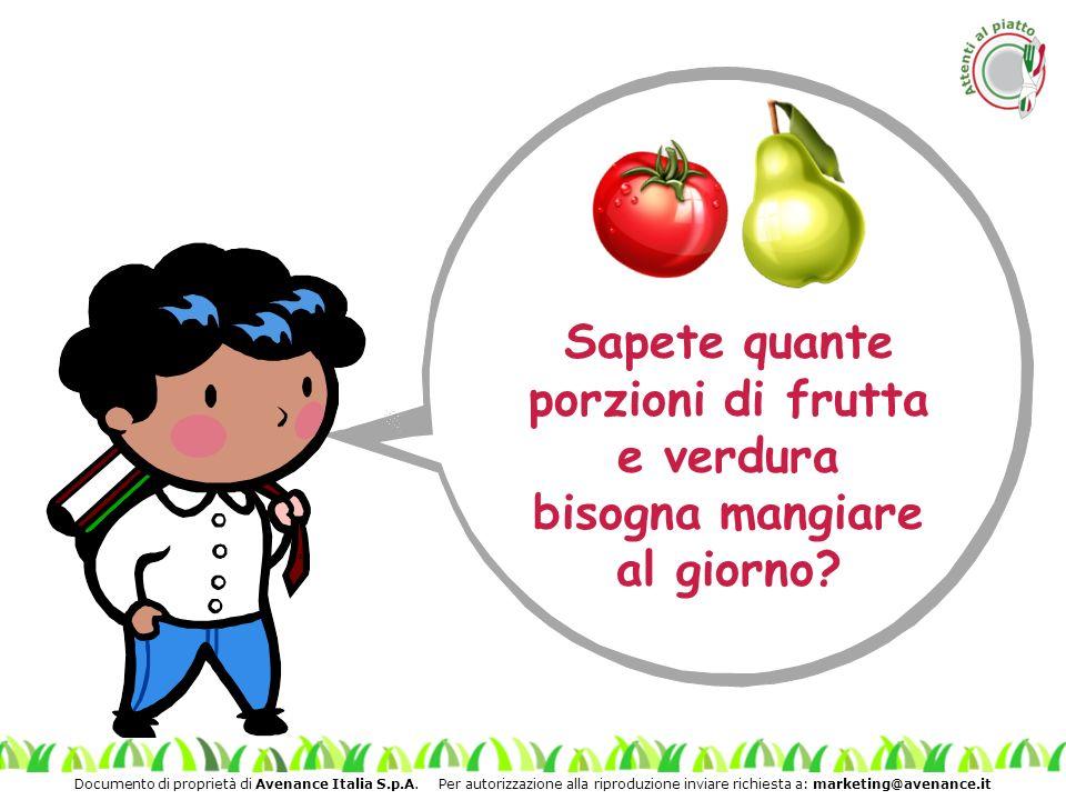 Documento di proprietà di Avenance Italia S.p.A. Per autorizzazione alla riproduzione inviare richiesta a: marketing@avenance.it Sapete quante porzion