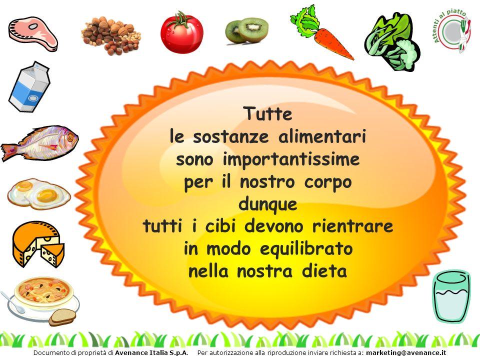 Tutte le sostanze alimentari sono importantissime per il nostro corpo dunque tutti i cibi devono rientrare in modo equilibrato nella nostra dieta