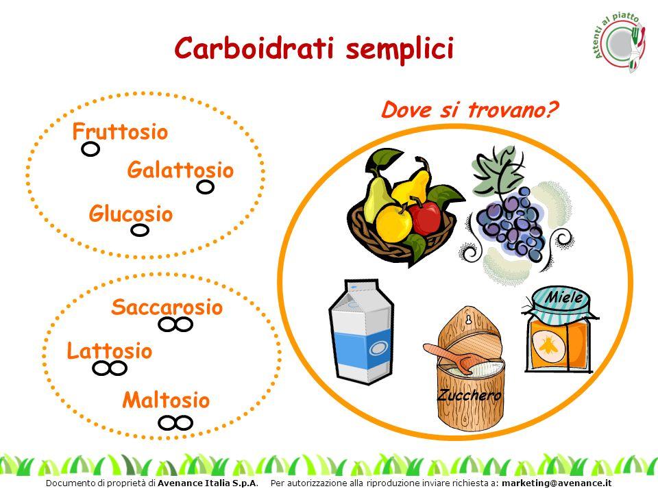 Documento di proprietà di Avenance Italia S.p.A. Per autorizzazione alla riproduzione inviare richiesta a: marketing@avenance.it Carboidrati semplici