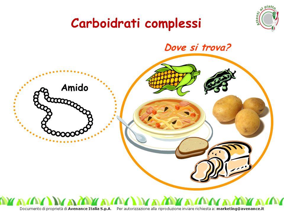 Documento di proprietà di Avenance Italia S.p.A. Per autorizzazione alla riproduzione inviare richiesta a: marketing@avenance.it Carboidrati complessi