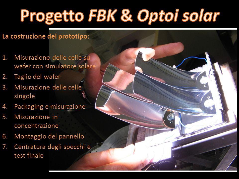 La costruzione del prototipo: 1.Misurazione delle celle su wafer con simulatore solare 2.Taglio del wafer 3.Misurazione delle celle singole 4.Packagin