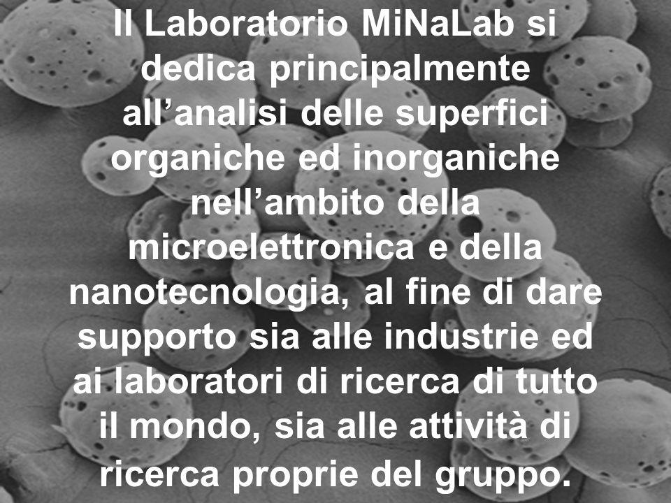 Il Laboratorio MiNaLab si dedica principalmente allanalisi delle superfici organiche ed inorganiche nellambito della microelettronica e della nanotecnologia, al fine di dare supporto sia alle industrie ed ai laboratori di ricerca di tutto il mondo, sia alle attività di ricerca proprie del gruppo.