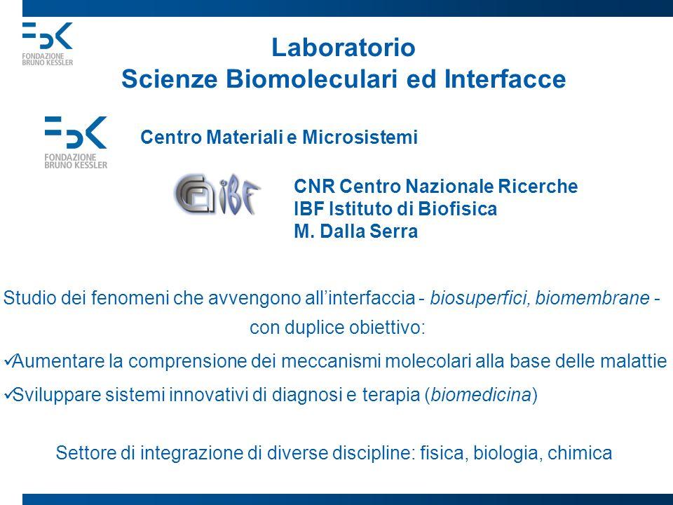 Laboratorio Scienze Biomoleculari ed Interfacce Centro Materiali e Microsistemi CNR Centro Nazionale Ricerche IBF Istituto di Biofisica M. Dalla Serra