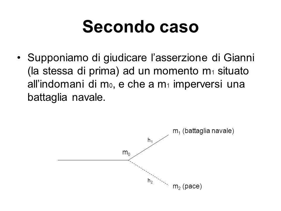 Secondo caso Supponiamo di giudicare lasserzione di Gianni (la stessa di prima) ad un momento m 1 situato allindomani di m 0, e che a m 1 imperversi una battaglia navale.