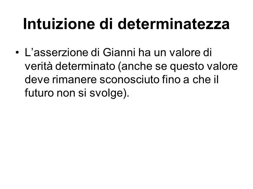 Intuizione di determinatezza Lasserzione di Gianni ha un valore di verità determinato (anche se questo valore deve rimanere sconosciuto fino a che il futuro non si svolge).
