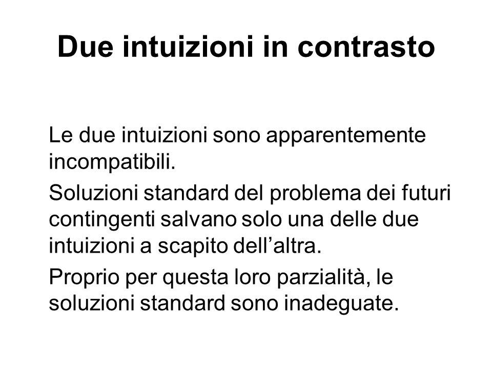 Due intuizioni in contrasto Le due intuizioni sono apparentemente incompatibili.
