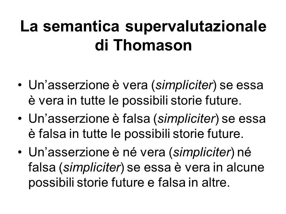 La semantica supervalutazionale di Thomason Unasserzione è vera (simpliciter) se essa è vera in tutte le possibili storie future.