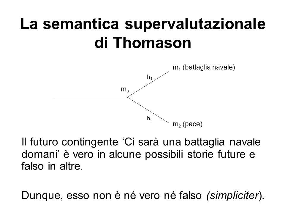 La semantica supervalutazionale di Thomason Il futuro contingente Ci sarà una battaglia navale domani è vero in alcune possibili storie future e falso in altre.