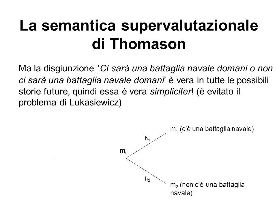 La semantica supervalutazionale di Thomason Ma la disgiunzione Ci sarà una battaglia navale domani o non ci sarà una battaglia navale domani è vera in tutte le possibili storie future, quindi essa è vera simpliciter.