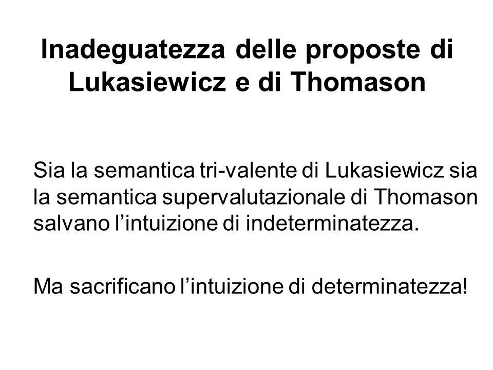 Inadeguatezza delle proposte di Lukasiewicz e di Thomason Sia la semantica tri-valente di Lukasiewicz sia la semantica supervalutazionale di Thomason salvano lintuizione di indeterminatezza.